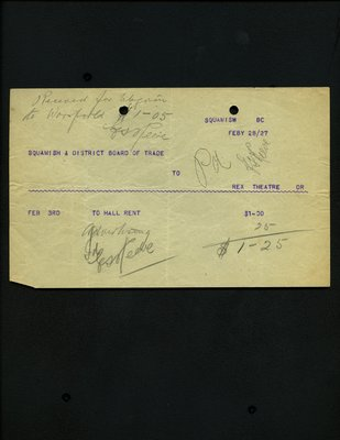 Telegram to Rex Theatre Dr, from Squamish Board of Trade.