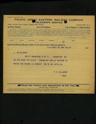 Telegram from D.G. Gallaher to J. Wilkinson, Squamish Board of Trade. RE: Visit to Squamish