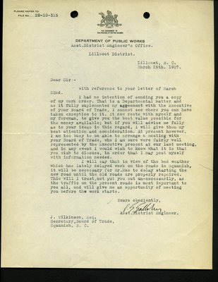 Letter from D.G. Gallaher to J. Wilkinson. RE: Visit to Squamish