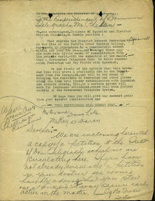 Petition to the Superintendent, Dominion Telegraphs from Citizens, Squamish. RE: Request for the Government Telephone Line.