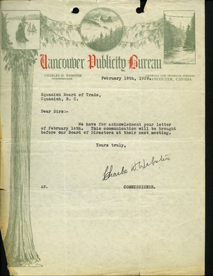 Letter to J. Wilkinson, Secretary, Squamish Board of Trade from Commissioner, Vancouver Publicity Bureau. RE: Highway from Whytecliff to Garibaldi