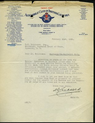Letter to J. Wilkinson, Secretary, Squamish Board of Trade from A.G. Craddock, Manager, Automobile Club of British Columbia. RE: Highway from Whytecliff to Garibaldi Park