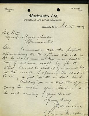 Letter to Secretary, Squamish Board of Tradefrom J.R. Morrison, Chairman, Board of Managers, Mackenzie's limited. RE: Footpath to Presbyterian Church.