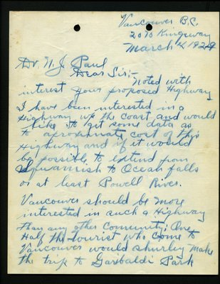 Letter of correspondence to N. J. Paul from F.J. Gardner RE: Proposed new highway construction.