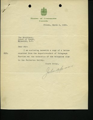 Letter to J. Wilkinson from the House of Commons. RE: Extension of the telephone line in Pemberton Valley