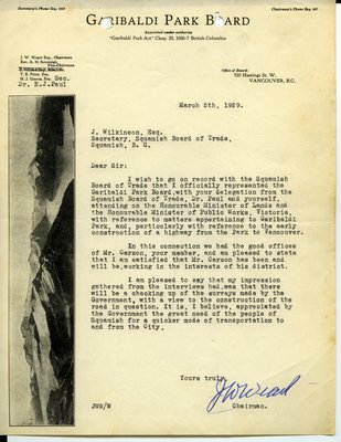 Letter to J. Wilkinson, Secretary, Squamish Board of Trade from J. W. Weart, Chairman, Garibaldi Park Board. RE: Highway from Whytecliff to Garibaldi Park.