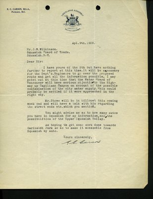 Letter to J. Wilkinson, Secretary, Squamish Board of Trade from E.C. Carson, MLA. RE: Highway from Whytecliff to Garibaldi Park.