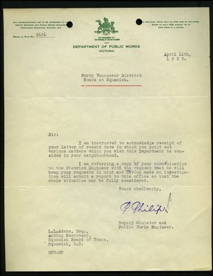 Letter to L.L Adams, Acting Secretary, Squamish Board of Trade from P. Phillip, Deputy Minister and Public Works Engineer. RE: Highway from Whytecliff to Garibaldi Park