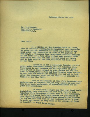Letter to W.A. Walker from Squamish Board of Trade. RE: Fund to pay Volunteer Firemen