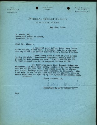 Letter to L.L. Adams, Squamish Board of Trade from Secretary to A.D. McRae, MP, Federal Constituency, Vancouver North. RE: Past correspondence and Telephone line to Squamish