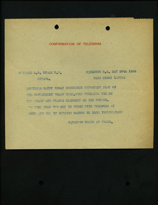 Confirmation of telegram to Ottawa