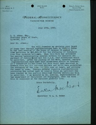 Letter to Squamish Board of Trade from E. Macleod, Secretary to A.D. McRae. RE: Telephone line from Squamish to Lillooet