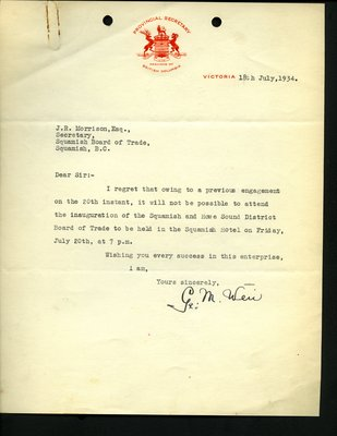 Letter to J.R. Morrison from Provincial Secretary, Mr. Weir. RE: Not able to attend inauguration