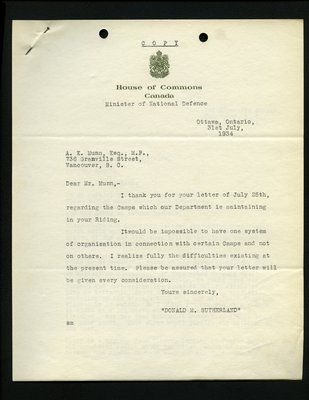 Copy of letter to A.E. Munn, MP from D.M. Sutherland, Minister of National Defense. RE: Relief camps