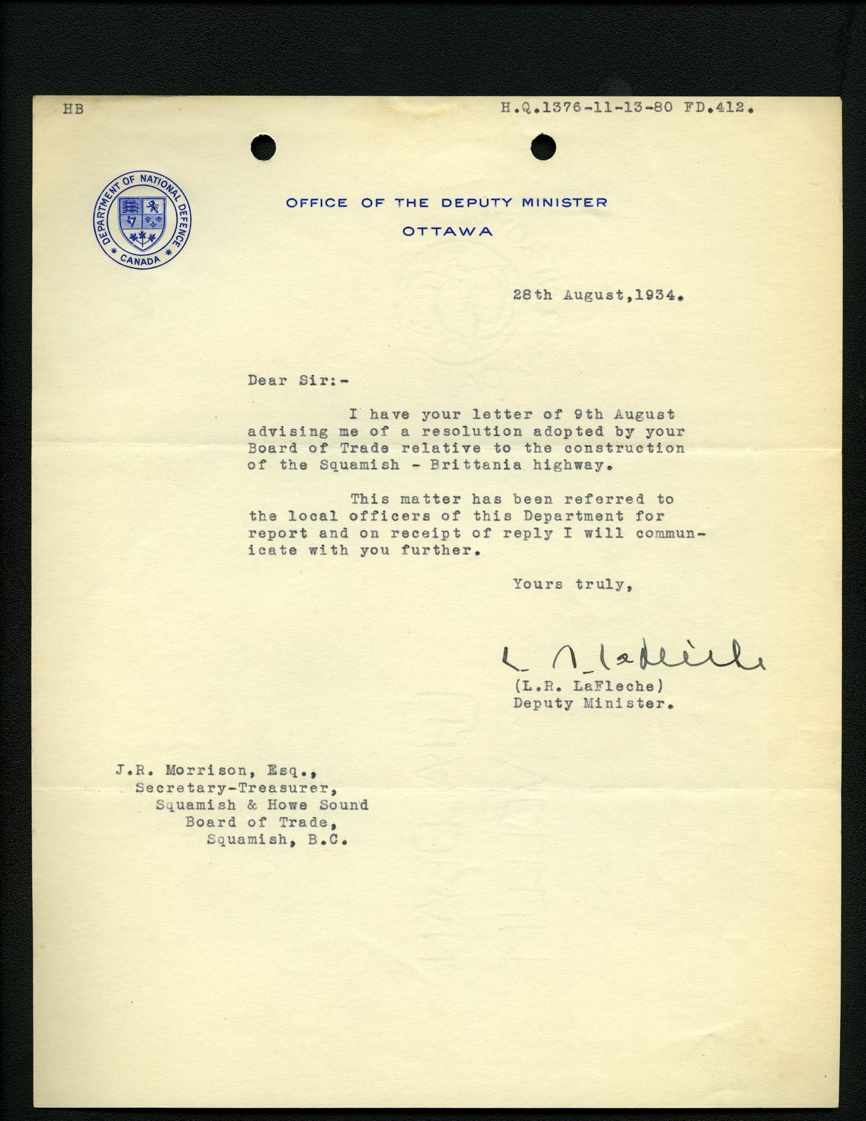 Letter to J.R. Morrison, Secretary-Treasurer, Squamish and Howe Sound Board of Trade from L.R. LaFleche, office of Deputy Minister. Re: Highway from Squamish to Britannia.