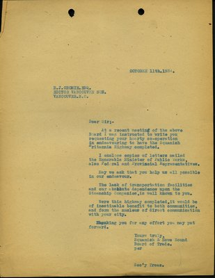 Letter to R.J. Crombie, Editor, Vancouver Sun from Secretary, Squamish and Howe Sound Board of Trade. RE: Lack of transportation facilities