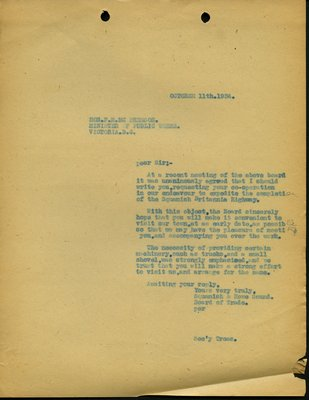 Letter to F.M. McPherson, Minister of Public Works from Squamish and Howe Sound Board of Trade. RE: Completion of Highway from Squamish to Britannia.
