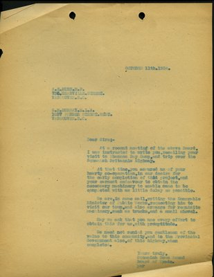 Letter to A.E. Munn, M.P. and G. Murray, M.L.A. RE: Completion of Highway from Squamish to Britannia