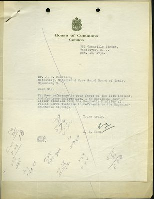 Letter to J.R. Morrison, Secretary-Treasurer, Squamish & Howe Sound Board of Trade from A.E. Munn. RE: Highway from Squamish to Britannia.