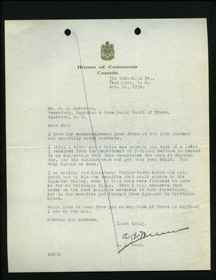 Letter to J.R. Morrison, Secretary, Squamish & Howe Sound Board of Trade from A.E. Munn, House of Commons. RE: Completion of Highway from Squamish to Britannia.
