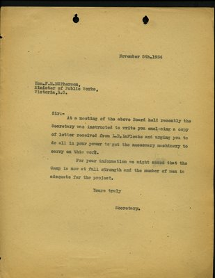 Letter to F.M. McPherson, Minister of Public Works from Secretary, Squamish & Howe Sound Board of Trade. RE: Machinery for Higway from Squamish to Britannia.