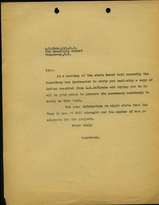 Letter to A.E. Munn from Secretary, Squamish & Howe Sound Board of Trade. RE: Machinery for Highway from Squamish to Britannia.