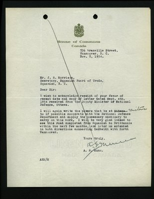 Letter to J.R. Morrison, Secretary, Squamish & Howe Sound Board of Trade from A.E. Munn, House of Commons. RE: Machinery for Highway from Squamish to Britannia.