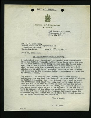 Letter to L.R. LaFleche, Deputy Minister, Department of National Defense from A.E. Munn, House of Commons. RE: Highway from Squamish to Britannia.