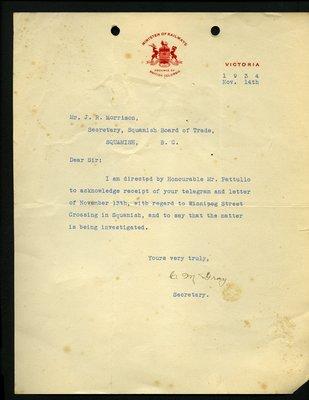 Letter to J.R. Morrison, Secretary, Squamish & Howe Sound Board of Trade from C.M. Gray, Secretary, Minister of Railways. RE: Winnipeg Street crossing.