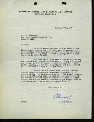 Letter to J. Wilkinson, Secretary, Squamish Board of Trade from General Manager, Britannia Mining & Smelting Company Limited. RE: Highway from Whytecliff to Garibaldi Park.