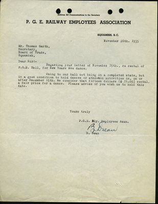 Letter to T. Smith , Secretary, Squamish & Howe Sound District Board of Trade from B. Dean, Pacific Great Eastern Railway Employees Association. RE: Hall Rental