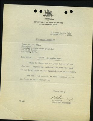 Letter to T. Smith, Secretary, Squamish & Howe Sound Board of Trade from W. Ramsay, District Engineer. Re: Upper Squamish River Road repairs.