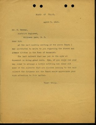 Letter to M.W. Ramsay, District Engineer, Williams Lake from Squamish and Howe Sound Board of Trade. RE: Cleaning Street and Avenue ditches in Squamish.