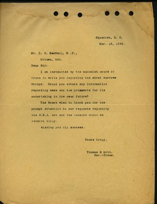 Letter to C.G. MacNeil, House of Commons. Re: First Narrows Bridge.