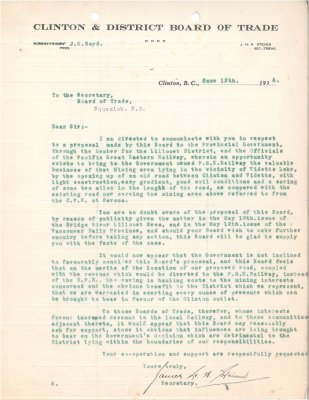 Letter to Secretary, Squamish Board of Trade from Secretary, Clinton & District Board of Trade. RE: Pacific Great Eastern Railway line from Clinton to Vidette.