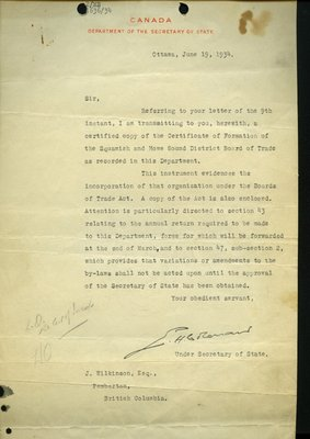 Letter to J. Wilkinson, Pemberton from Under Secretary, Department of Secretary of State. RE: Certificate of Formation of Squamish & Howe Sound Board of Trade