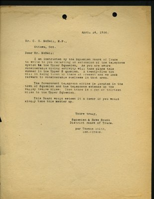 Letter to C.G. MacNeil, MP from T. Smith, Secretary-Treasurer, Squamish & Howe Sound District Board of Trade. RE: Telephones in Upper Squamish.