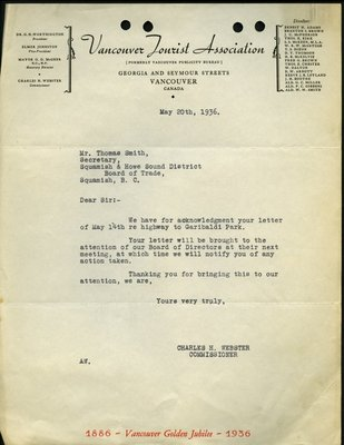 Letter to T. Smith, Secretary, from Charles H. Webster, Commissioner, Vancouver Tourist Association. RE: Highway from Whytecliff to Garibaldi Park.