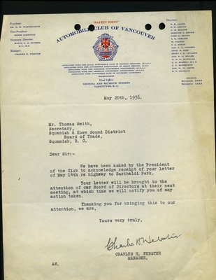 Letter to T. Smith, Secretary, from C.H. Webster, Manager, Automobile Club of Vancouver. RE: Highway from Whytecliff to Garibaldi Park.