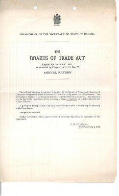 The Boards of Trade Act, Annual Return