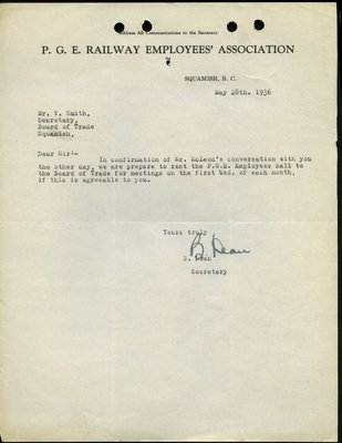 Letter to T. Smith, Secretary, Squamish and Howe Sound District Board of Trade from Secretary, Pacific Great Eastern Railway Employees' Association. RE: Hall Rental.