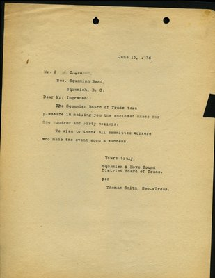 Letter to C.B. Ingraham, Secretary-Treasurer, Squamish Indian Band from T. Smith, Secretary-Treasurer, Squamish & Howe Sound District Board of Trade. RE: Cheque