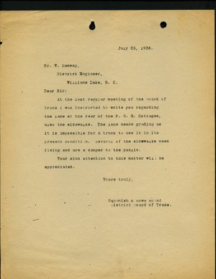 Letter to W. Ramsay, District Engineer from Squamish & Howe Sound District Board of Trade. Re: Lane and sidewalks near Pacific Great Eastern Cottages.