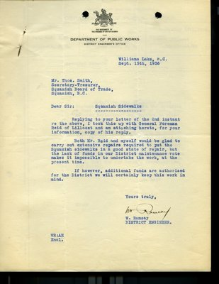 Correspondence between T. Smith and W. Ramsay. RE: Squamish sidewalks.
