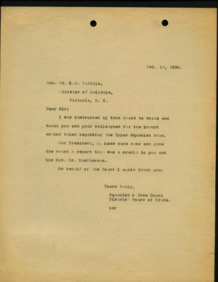 Letter to T. D. Pattullo, Minister of Railways from Squamish & Howe Sound District Board of Trade. RE: Upper Squamish Road.