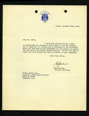Letter to T. Smith, Squamish & Howe Sound District Board of Trade from C.W. Jackson, Private Secretary, Minister of Mines. RE: Ashloo mining district