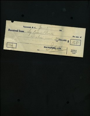 Receipt issued by Mackenzies Ltd. from the Squamish Board of Trade