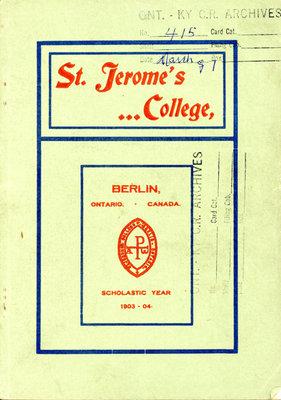 St. Jerome's College Calendar 1903-1904