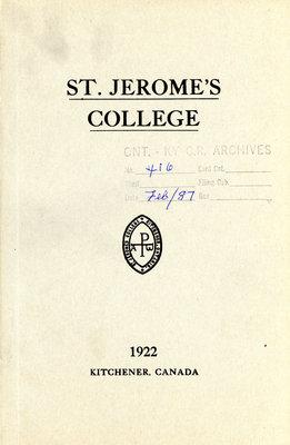 St. Jerome's College Calendar 1922