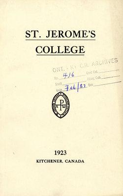 St. Jerome's College Calendar 1923